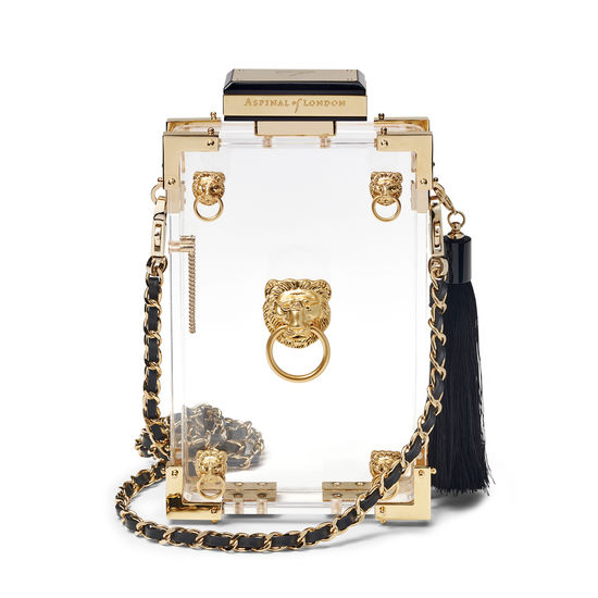 Lion Clutch in Transparent with Lions from Aspinal of London