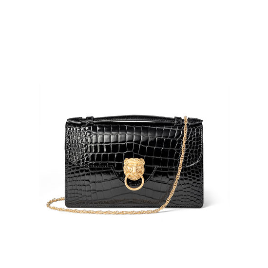 Lion Ava Clutch Bag in Black Patent Croc from Aspinal of London