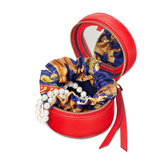 Zipped Travel Jewellery Case in Scarlet Saffiano from Aspinal of London