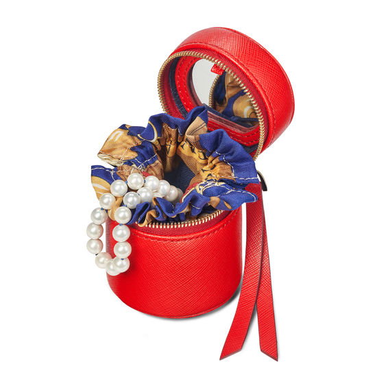 Tall Zipped Travel Jewellery Case in Scarlet Saffiano from Aspinal of London