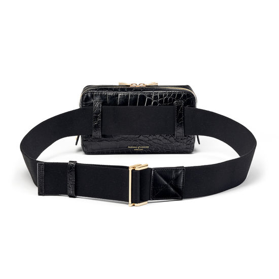 Camera Belt Bag in Deep Shine Black Soft Croc from Aspinal of London