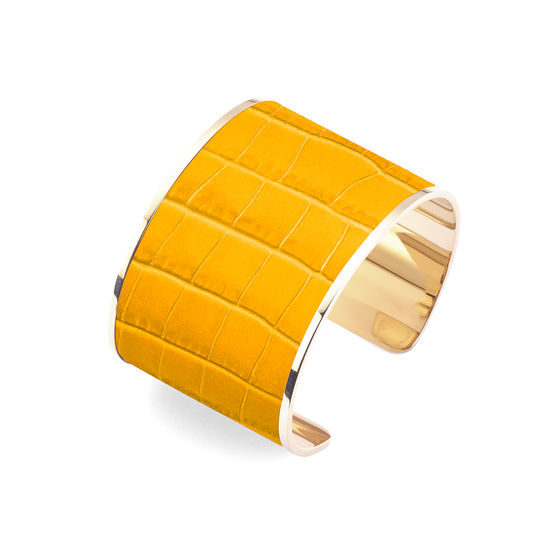 Cleopatra Cuff Bracelet in Deep Shine Bright Mustard Small Croc from Aspinal of London