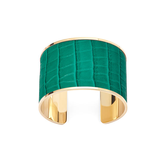 Cleopatra Cuff Bracelet in Deep Shine Emerald Green Small Croc from Aspinal of London