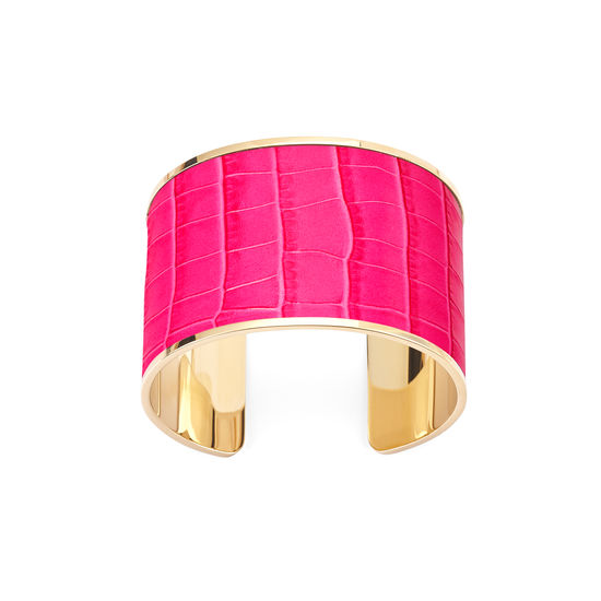 Cleopatra Cuff Bracelet in Deep Shine Penelope Pink Small Croc from Aspinal of London