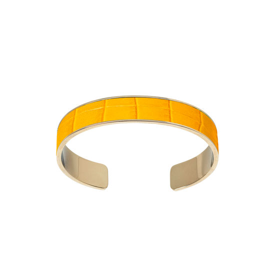 Cleopatra Skinny Cuff Bracelet in Deep Shine Bright Mustard Small Croc from Aspinal of London