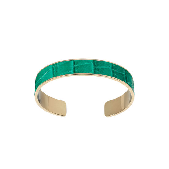 Cleopatra Skinny Cuff Bracelet in Deep Shine Emerald Green Small Croc from Aspinal of London