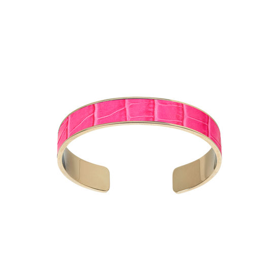 Cleopatra Skinny Cuff Bracelet in Deep Shine Penelope Pink Small Croc from Aspinal of London
