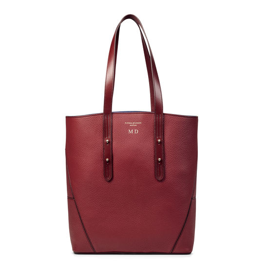 Essential 'A' Tote in Bordeaux Pebble from Aspinal of London