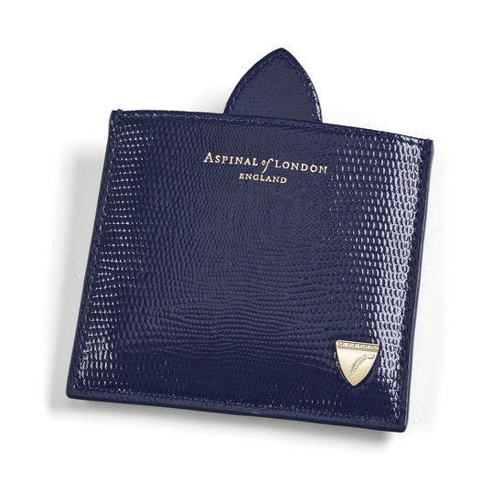 Compact Mirror in Midnight Blue Silk Lizard from Aspinal of London