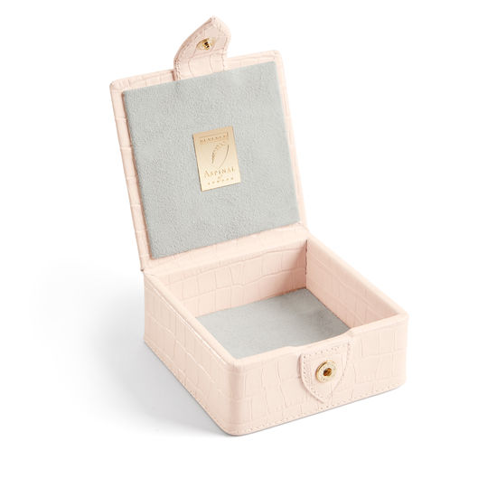 Stud Box in Deep Shine Shell Pink Small Croc from Aspinal of London