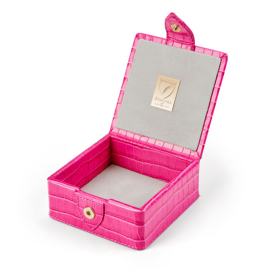 Stud Box in Deep Shine Penelope Pink Small Croc from Aspinal of London
