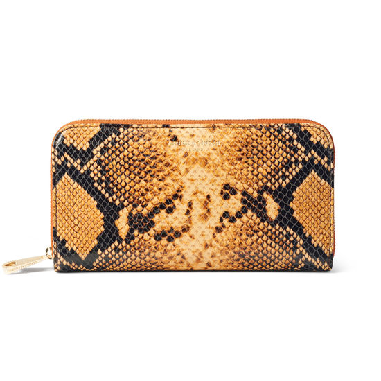 Continental Purse in Mustard Snake from Aspinal of London