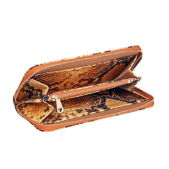 Continental Clutch Zip Wallet in Mustard Snake from Aspinal of London