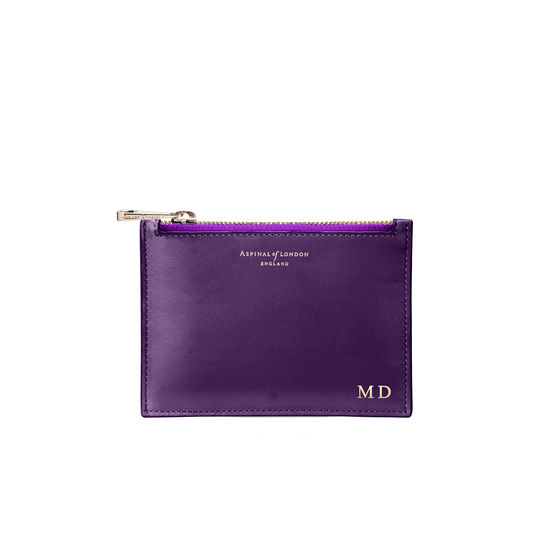 Small Essential Flat Pouch in Smooth Amethyst from Aspinal of London