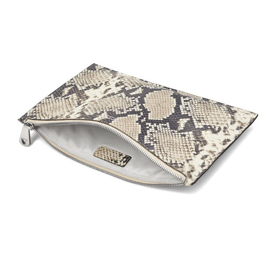 Large Essential Flat Pouch in Embossed Natural Python Print from Aspinal of London