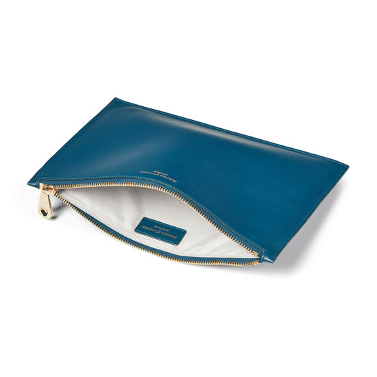 Large Essential Flat Pouch in Smooth Topaz from Aspinal of London