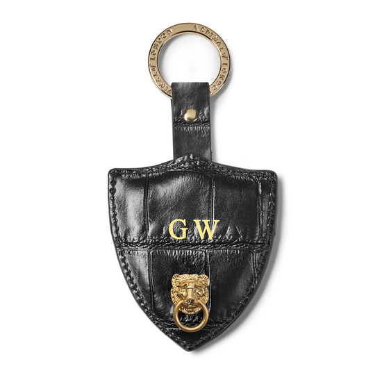 Small Lion & Shield Keyring in Deep Shine Black Soft Croc from Aspinal of London