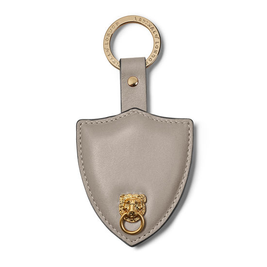 Small Lion & Shield Keyring in Smooth Warm Grey from Aspinal of London