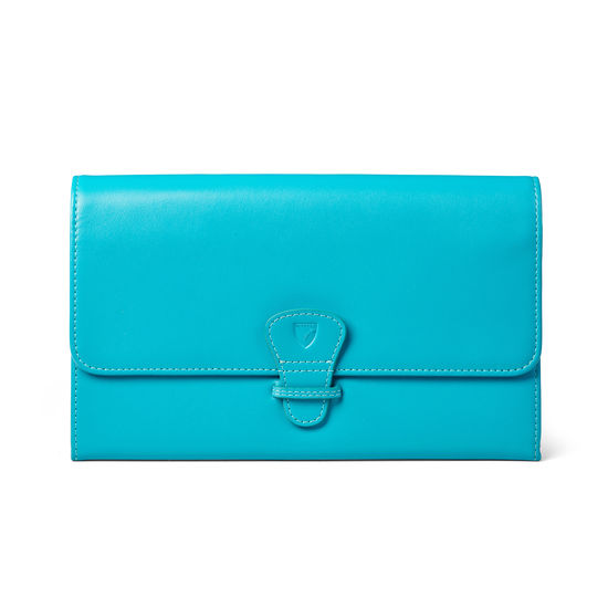 Classic Travel Wallet in Smooth Turquoise from Aspinal of London
