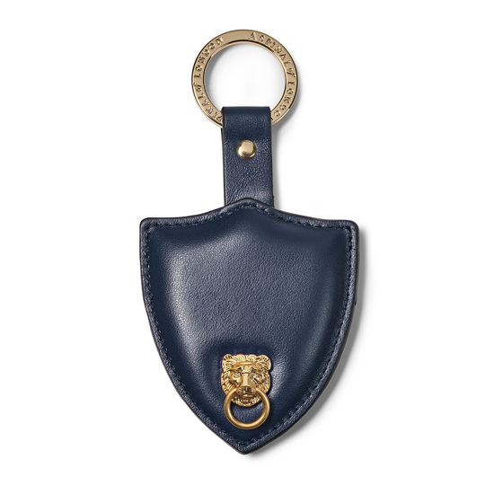 Small Lion & Shield Keyring in Smooth Navy from Aspinal of London