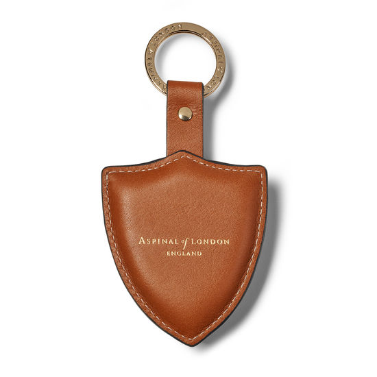 Small Lion & Shield Keyring in Smooth Tan from Aspinal of London