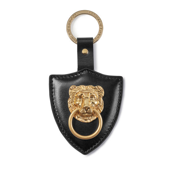 Large Lion & Shield Keyring in Smooth Black from Aspinal of London