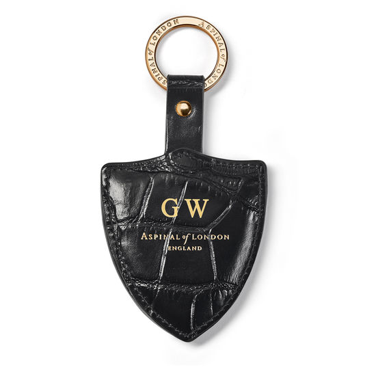 Large Lion & Shield Keyring in Deep Shine Black Soft Croc from Aspinal of London