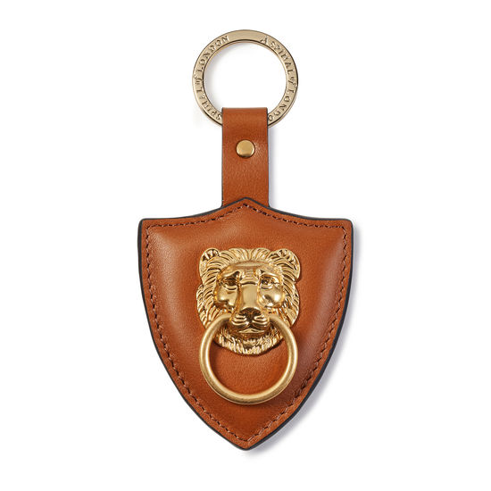 Large Lion & Shield Keyring in Smooth Tan from Aspinal of London