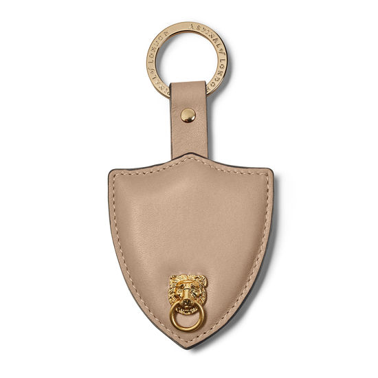 Small Lion & Shield Keyring in Smooth Soft Taupe from Aspinal of London