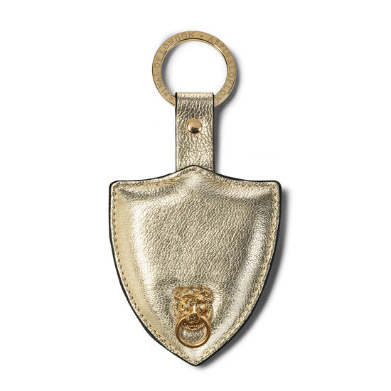 Small Lion & Shield Keyring in Pale Gold Pebble from Aspinal of London