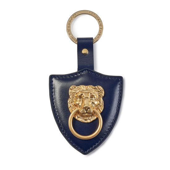 Large Lion & Shield Keyring in Smooth Navy from Aspinal of London