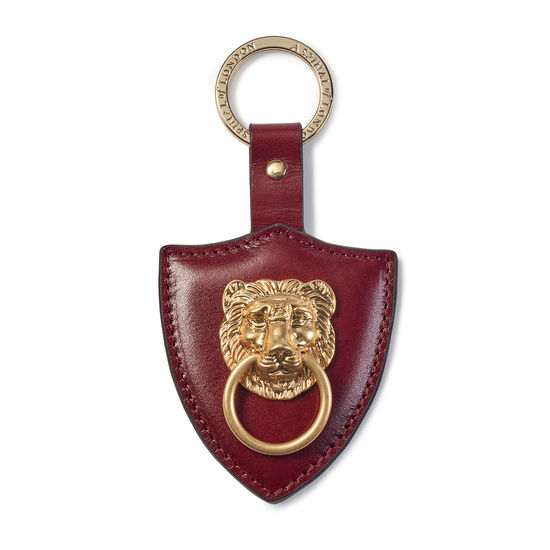Large Lion & Shield Keyring in Smooth Bordeaux from Aspinal of London