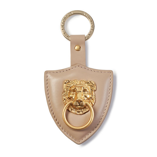 Large Lion & Shield Keyring in Smooth Soft Taupe from Aspinal of London