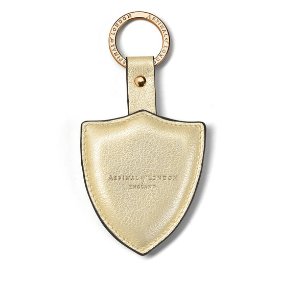 Large Lion & Shield Keyring in Pale Gold Pebble from Aspinal of London