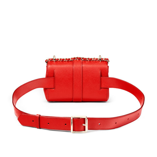 Micro Lottie Belt Bag in Scarlet Saffiano from Aspinal of London