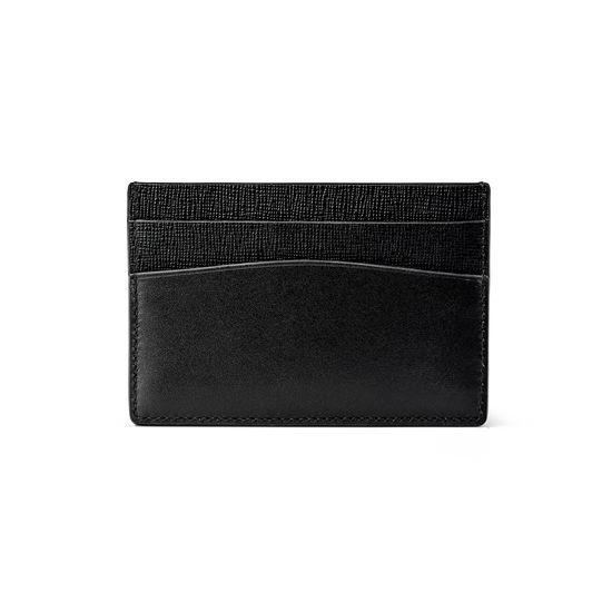 City Slim Credit Card Holder in Black Saffiano & Smooth Black from Aspinal of London
