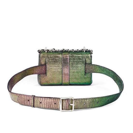 Micro Lottie Belt Bag in Iridescent Silk Lizard from Aspinal of London