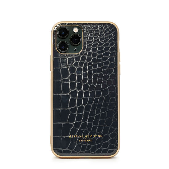 iPhone 11 Pro Case with Gold Edge in Black Patent Croc from Aspinal of London