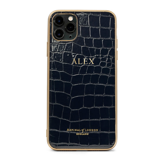 iPhone 11 Pro Max Case with Gold Edge in Black Patent Croc from Aspinal of London