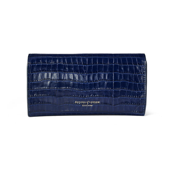 Sunglasses Case in Deep Shine Midnight Blue Small Croc from Aspinal of London
