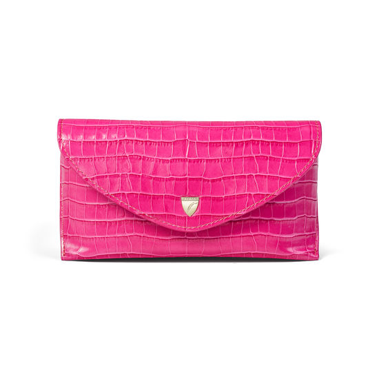 Sunglasses Case in Deep Shine Penelope Pink Small Croc from Aspinal of London