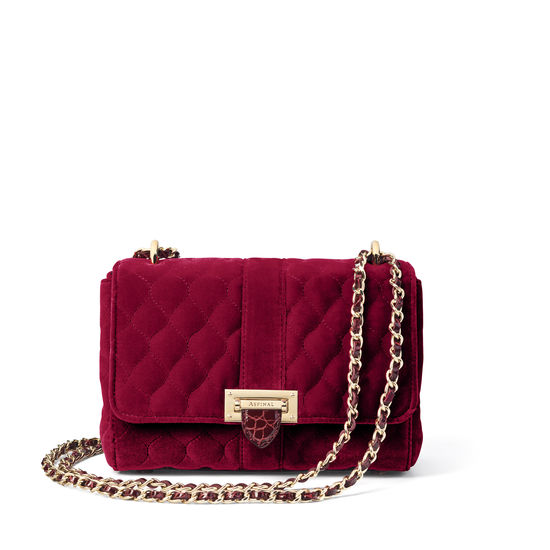 Lottie Bag in Bordeaux Quilted Velvet from Aspinal of London