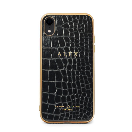 iPhone XR Case with Gold Edge in Black Patent Croc from Aspinal of London