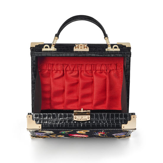 The Trunk in Deep Shine Black Small Croc & Velvet with Feather Embroidery from Aspinal of London