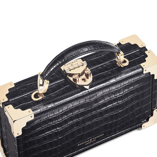 Trinket Box in Deep Shine Black Small Croc from Aspinal of London