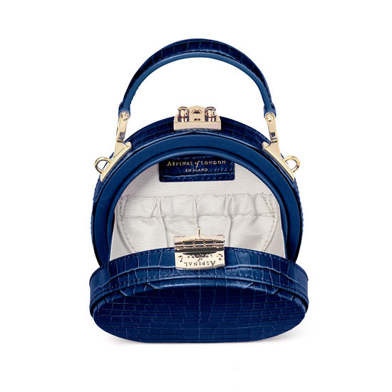 Micro Hat Box in Deep Shine Midnight Blue Small Croc from Aspinal of London