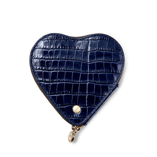 Heart Coin Purse in Deep Shine Midnight Blue Small Croc from Aspinal of London