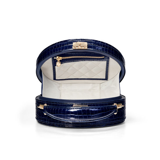 Hat Box in Deep Shine Midnight Blue Small Croc from Aspinal of London