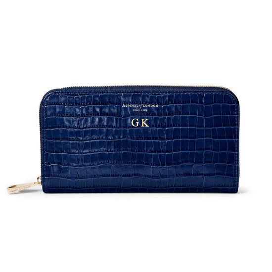Continental Purse in Deep Shine Midnight Blue Small Croc from Aspinal of London