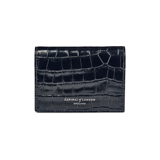Accordion Credit Card Holder in Deep Shine Black Small Croc from Aspinal of London
